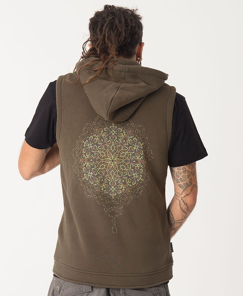 Peyote Hooded Vest ➟ Olive