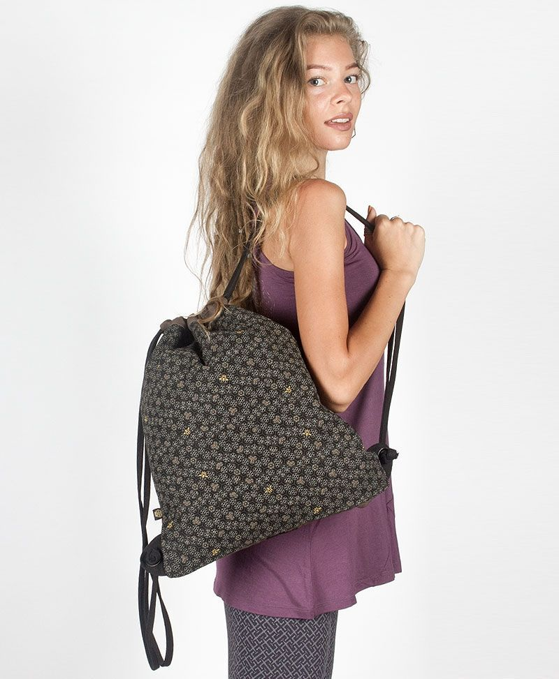 Bees Drawstring Backpack ➟ Black & Grey