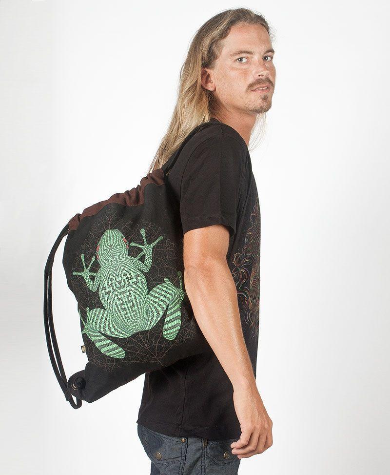 Sapo Kambô Drawstring Backpack ➟ Black & Brown