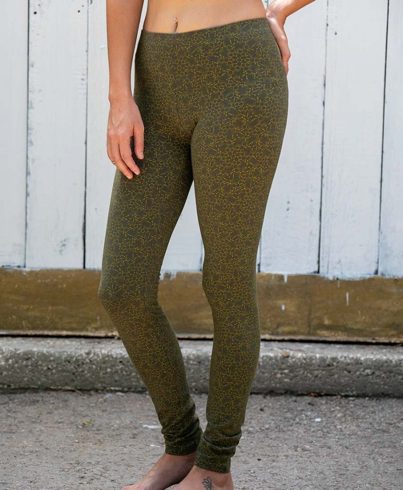 LSD Molecule Leggings / Full Length - Olive