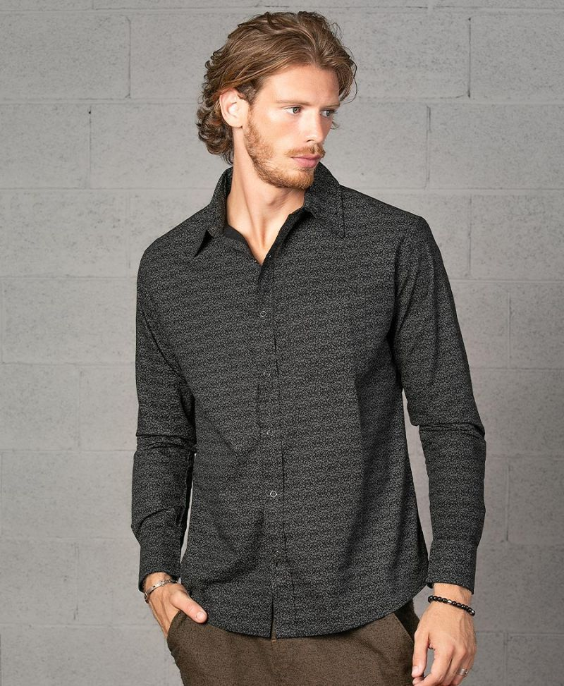 Rudraksha Long Button Shirt ➟ Black