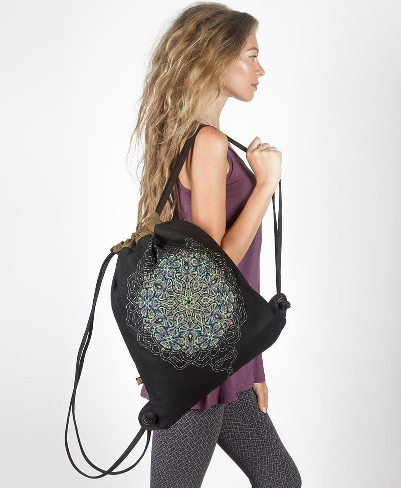Peyote Drawstring Backpack ➟ Black & Khaki