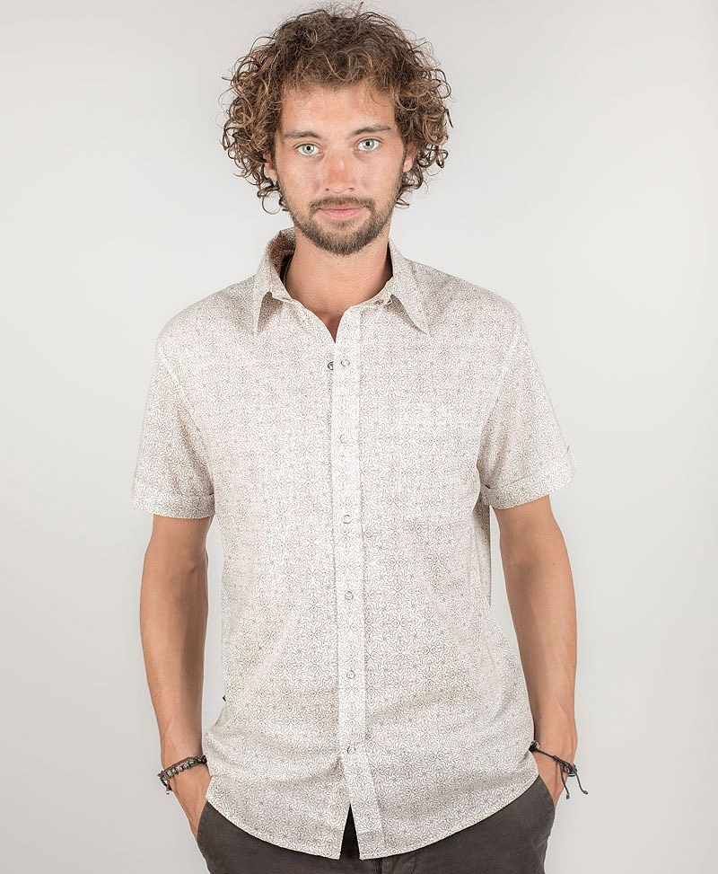 Hamsa Button Shirt ➟ White