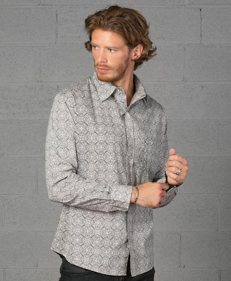 Squarcle Long Button Shirt ➟ Light Grey