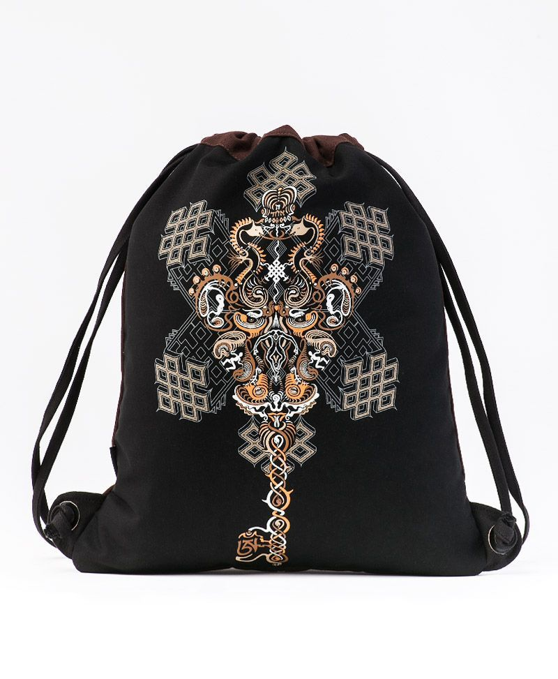 Om On Key Drawstring Backpack ➟ Black & Brown