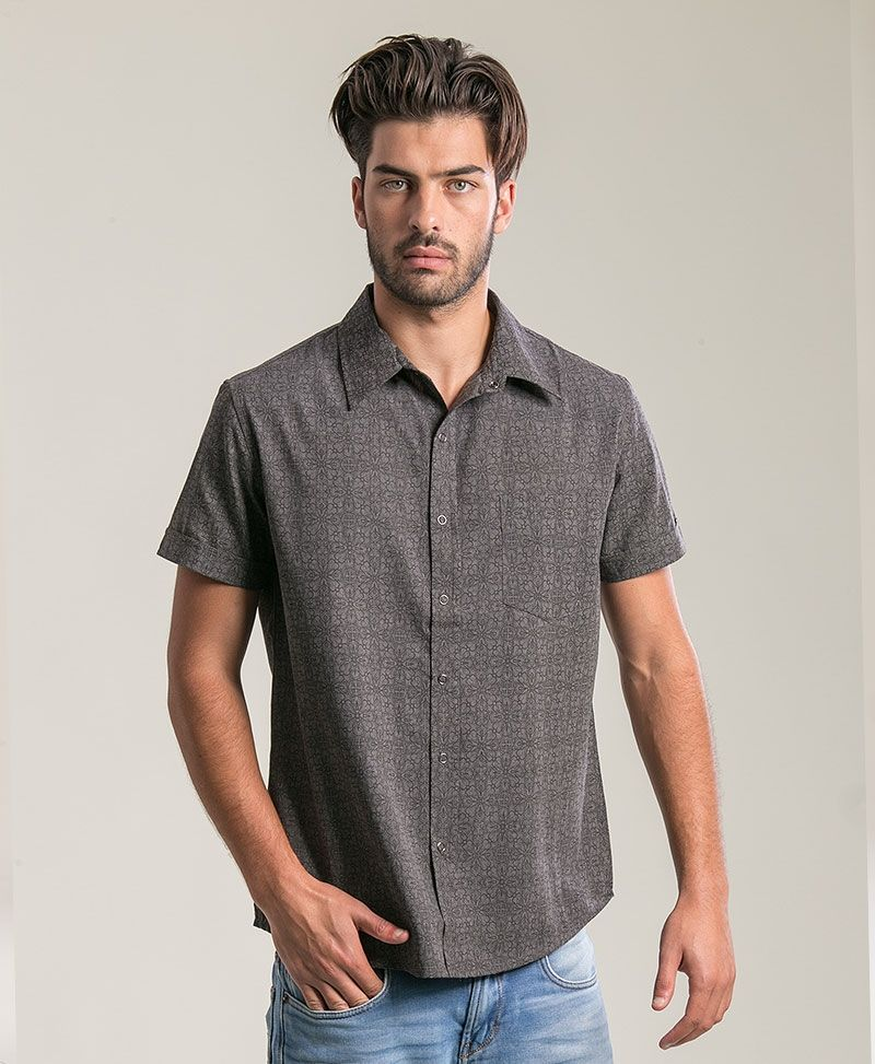 Arabesque Button Shirt ➟ Dark Grey