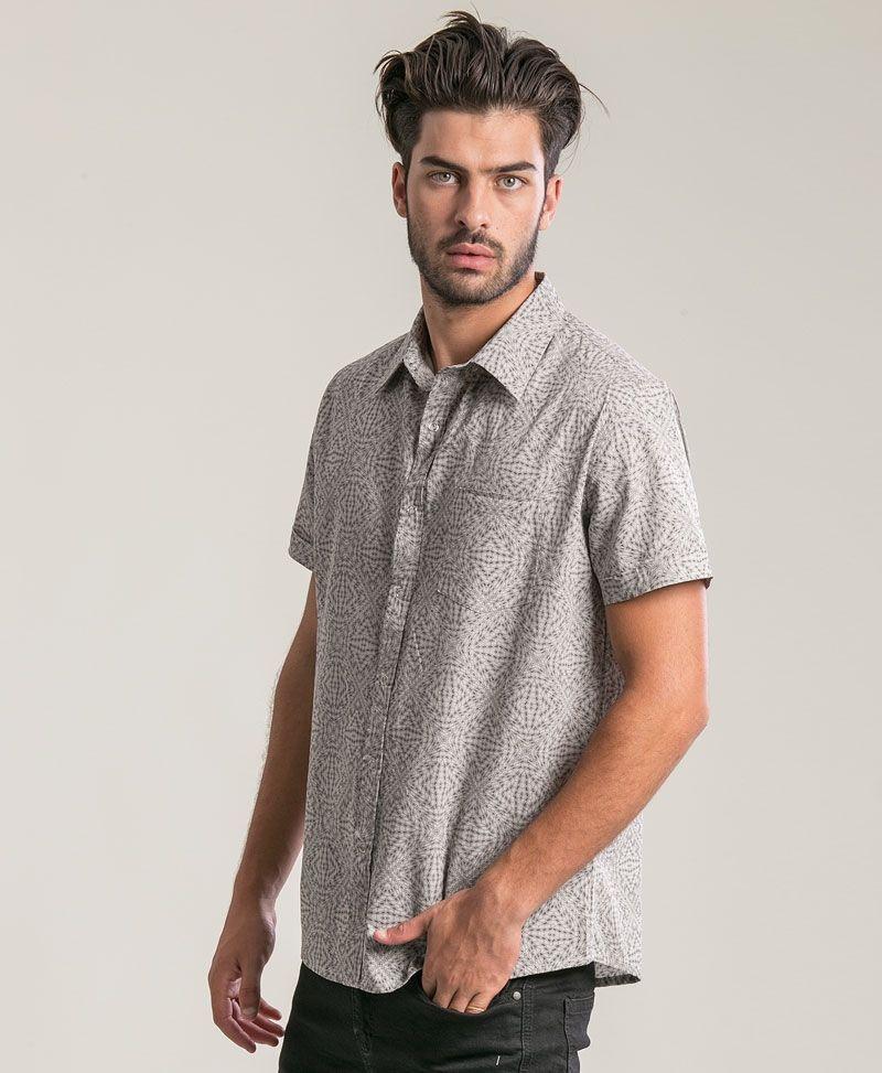 Hexit Button Shirt ➟ Light Grey