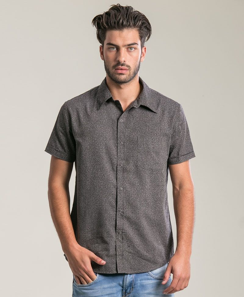 Maze Button Shirt  ➟ Dark Grey