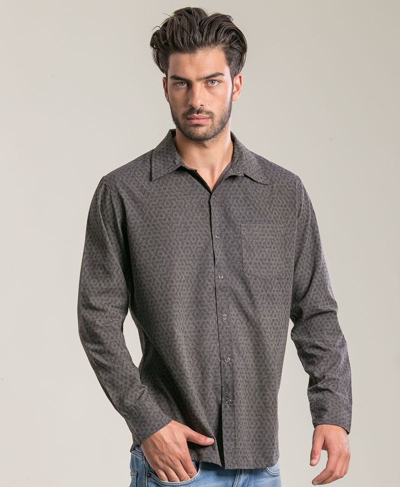 Seeds Long Button Shirt ➟ Grey