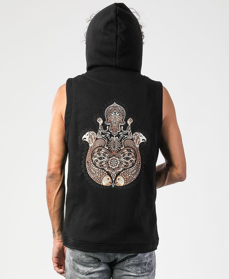 Hamsa Hooded Vest ➟ Black