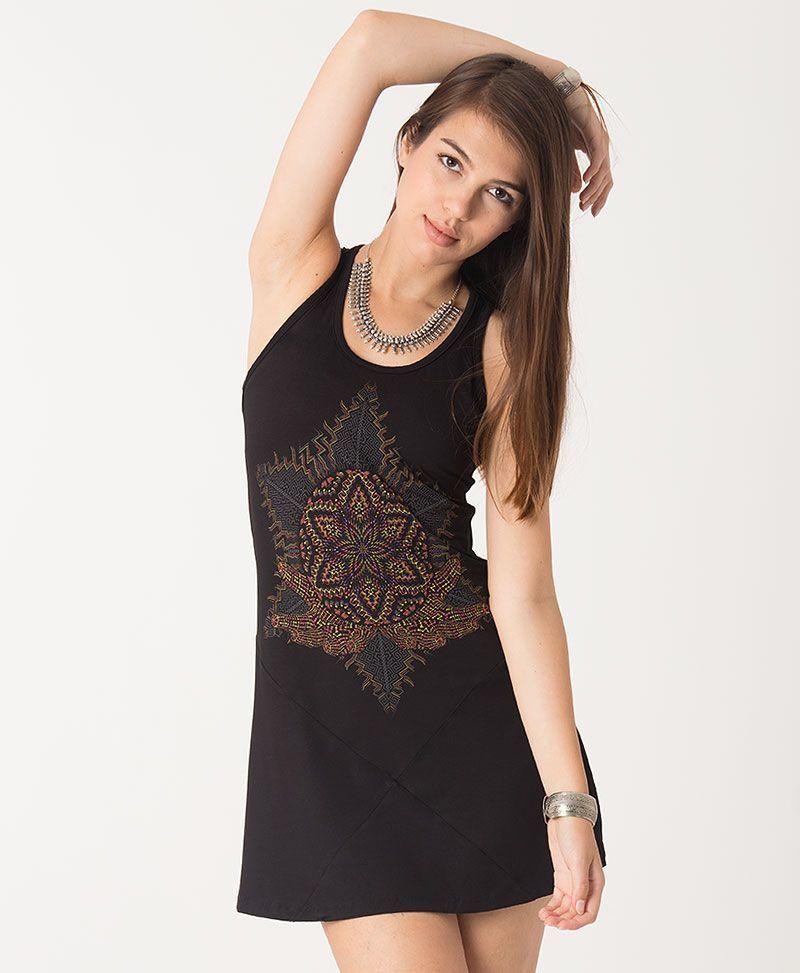 Anahata Tunic Dress ➟ Black / Grey / Green