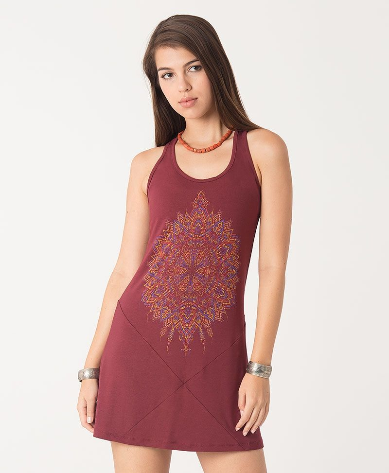 Mexica Tunic Dress ➟ Purple / Red