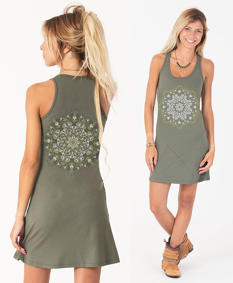 Lotusika Tunic Dress ➟ Grey / Green