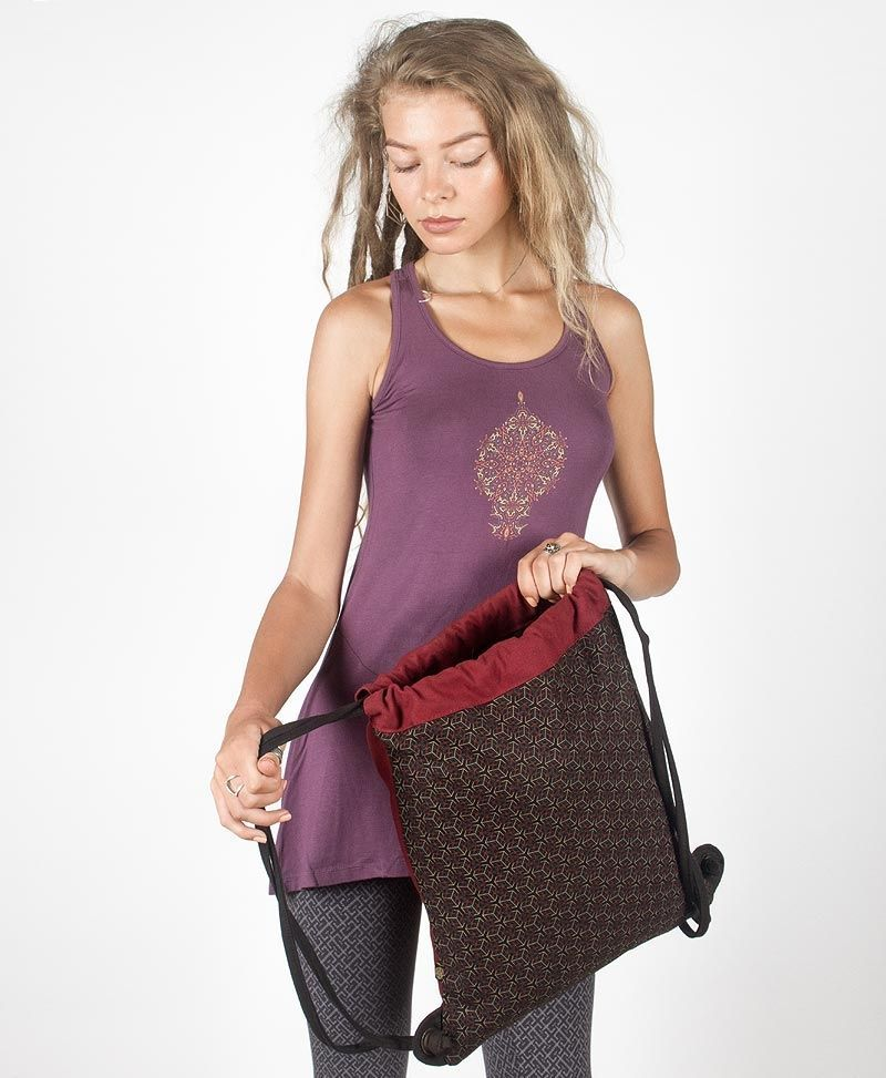 Kubic Drawstring Backpack ➟ Black & Maroon