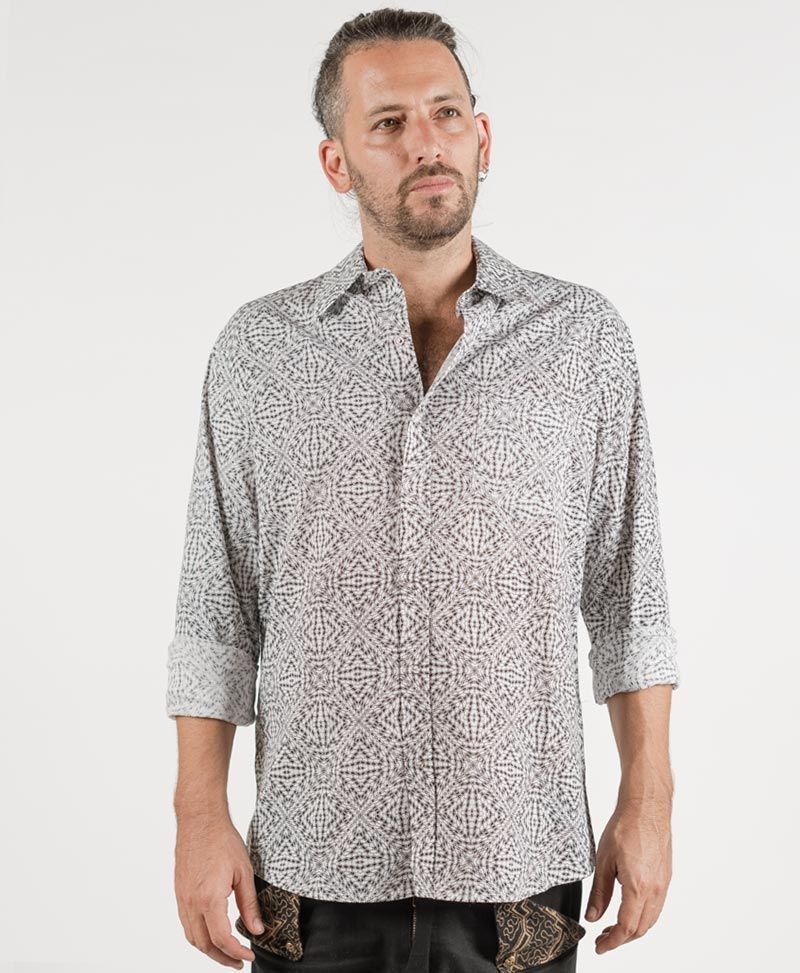 Hexit Long Button Shirt ➟ White