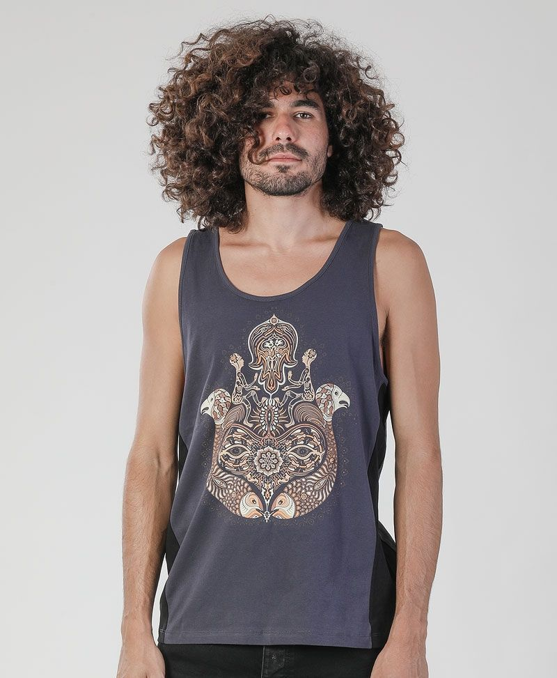 Hamsa Tank Top ➟ Grey + Black