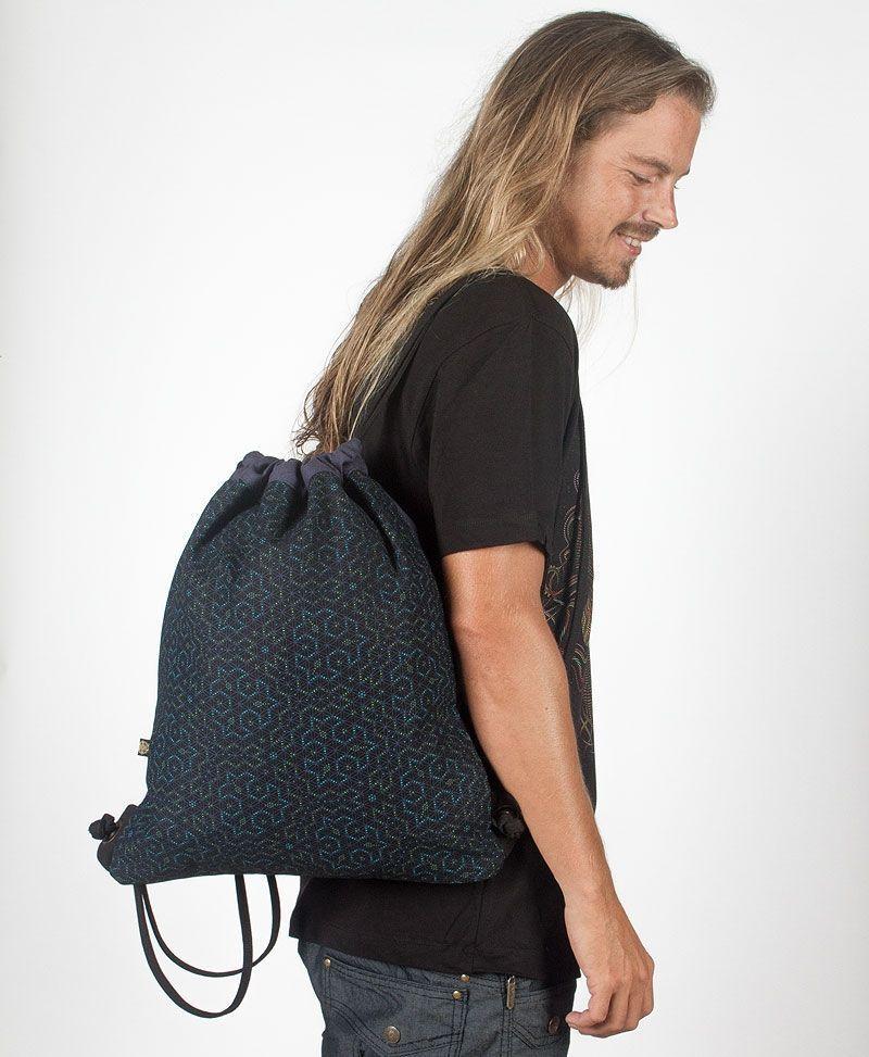 Seeds Drawstring Backpack ➟ Black & Blue
