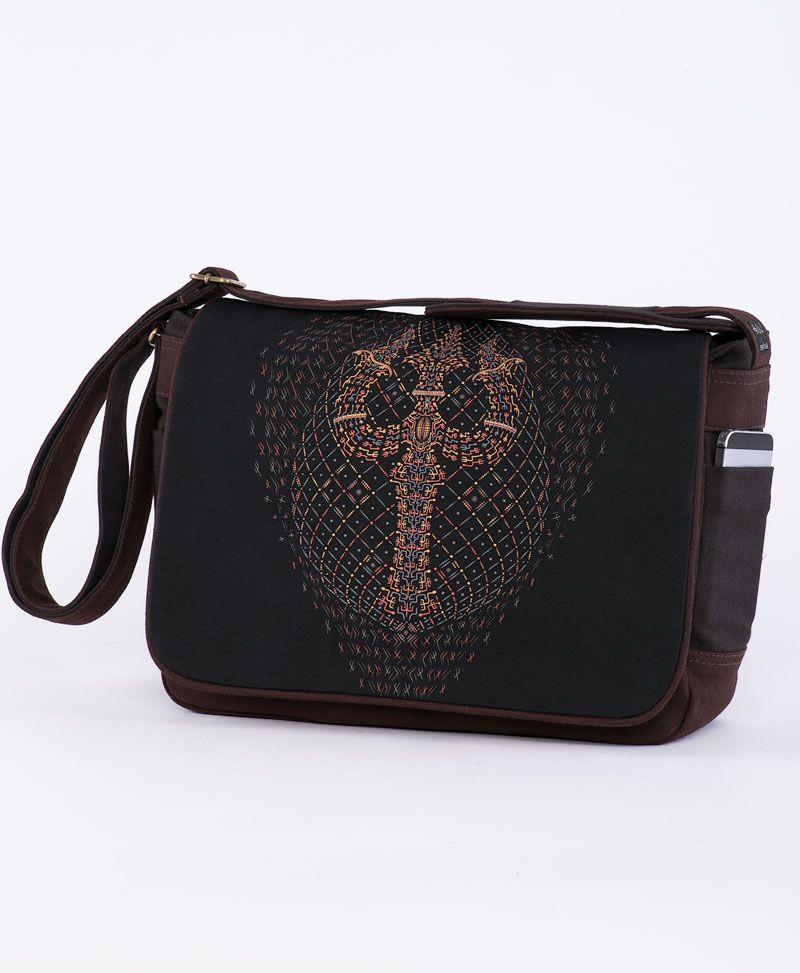 psychedelic t shirt laptop messenger bag