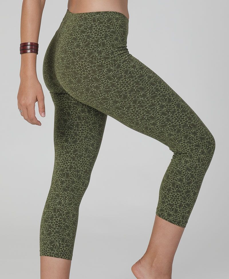 LSD print cotton yoga leggings for women