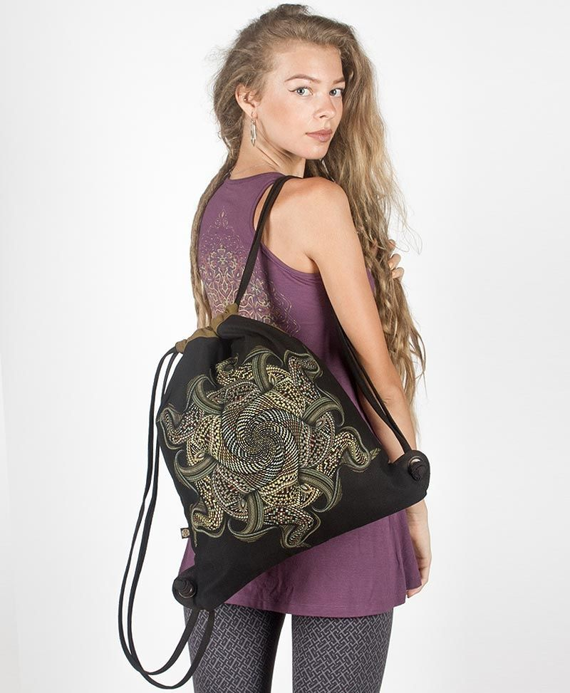 psychedelic festival bag draw string backpack sack vortex mandala