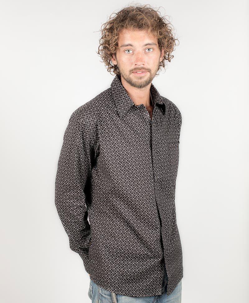 psy-clothing-men-wear-button-down-long-sleeve-shirt-black-print