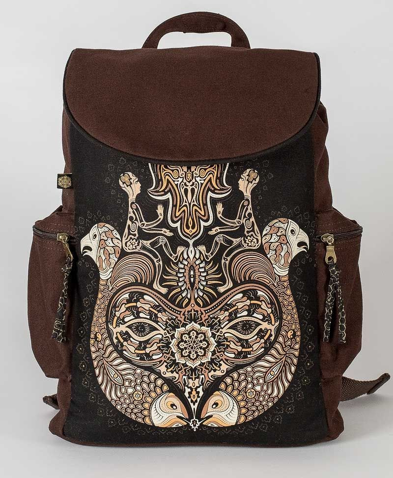 psy trance canvas laptop backpack sacred geometry hamsa