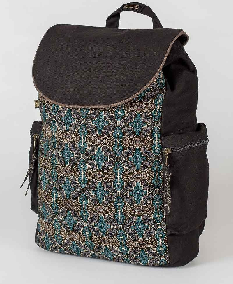 psy trance canvas laptop backpack sacred geometry shipibo bag