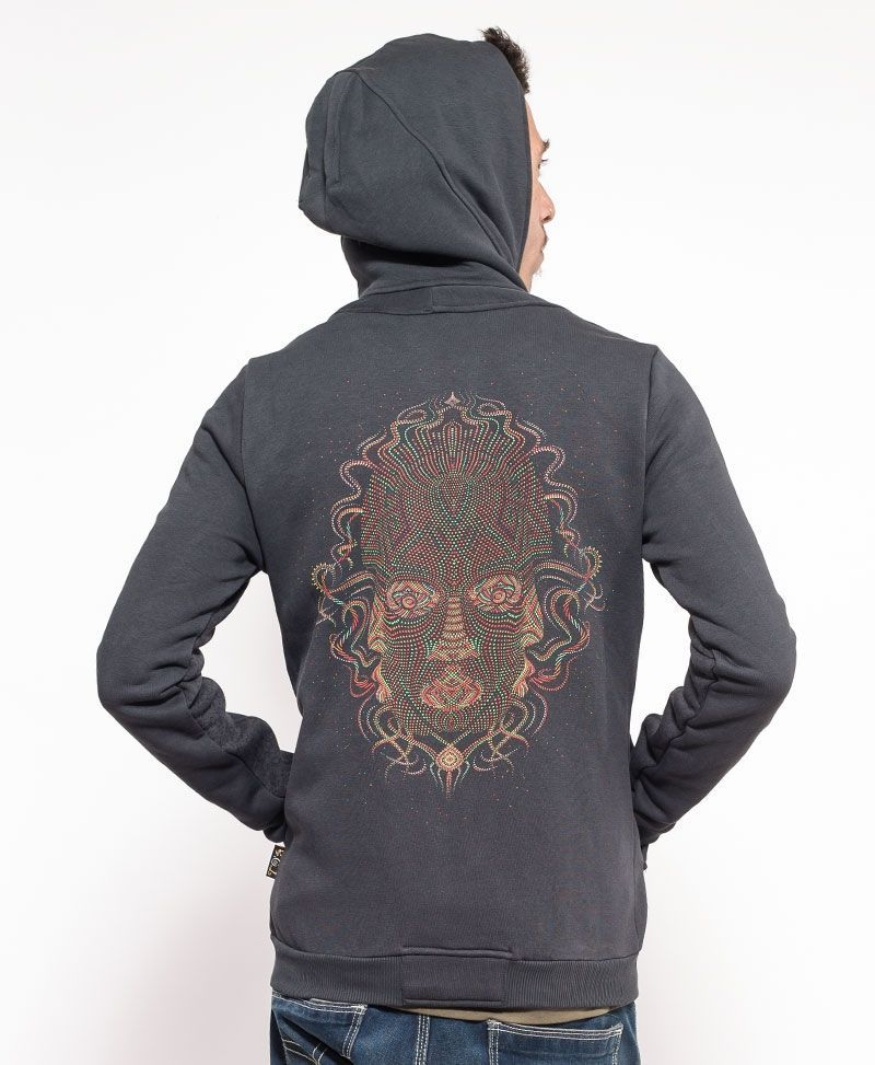 psychedelic clothing men hoodie jacket grey trimurti