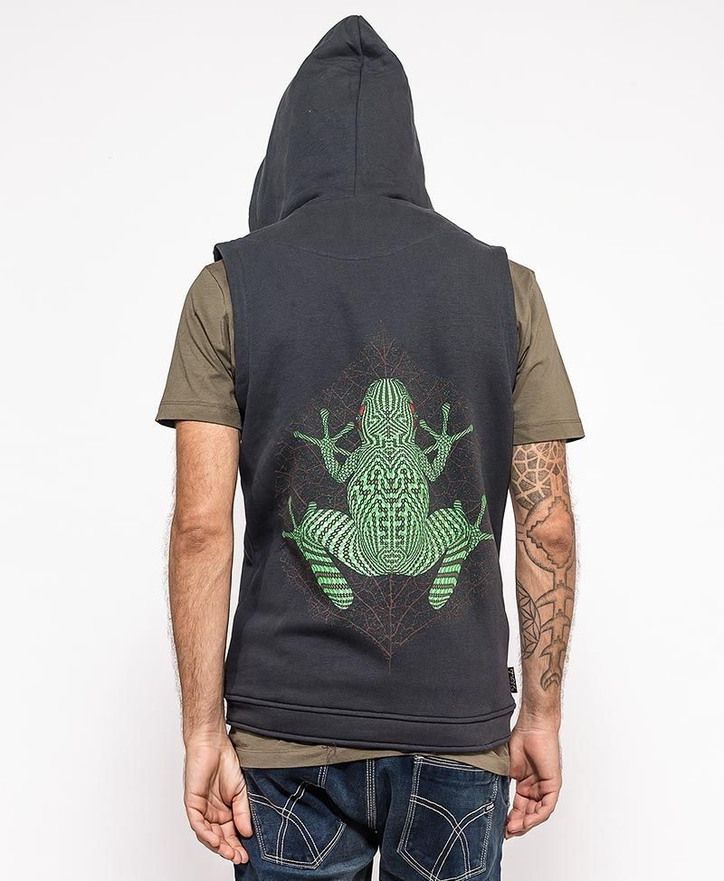 psychedelic clothing mens hood vest grey kambo frog