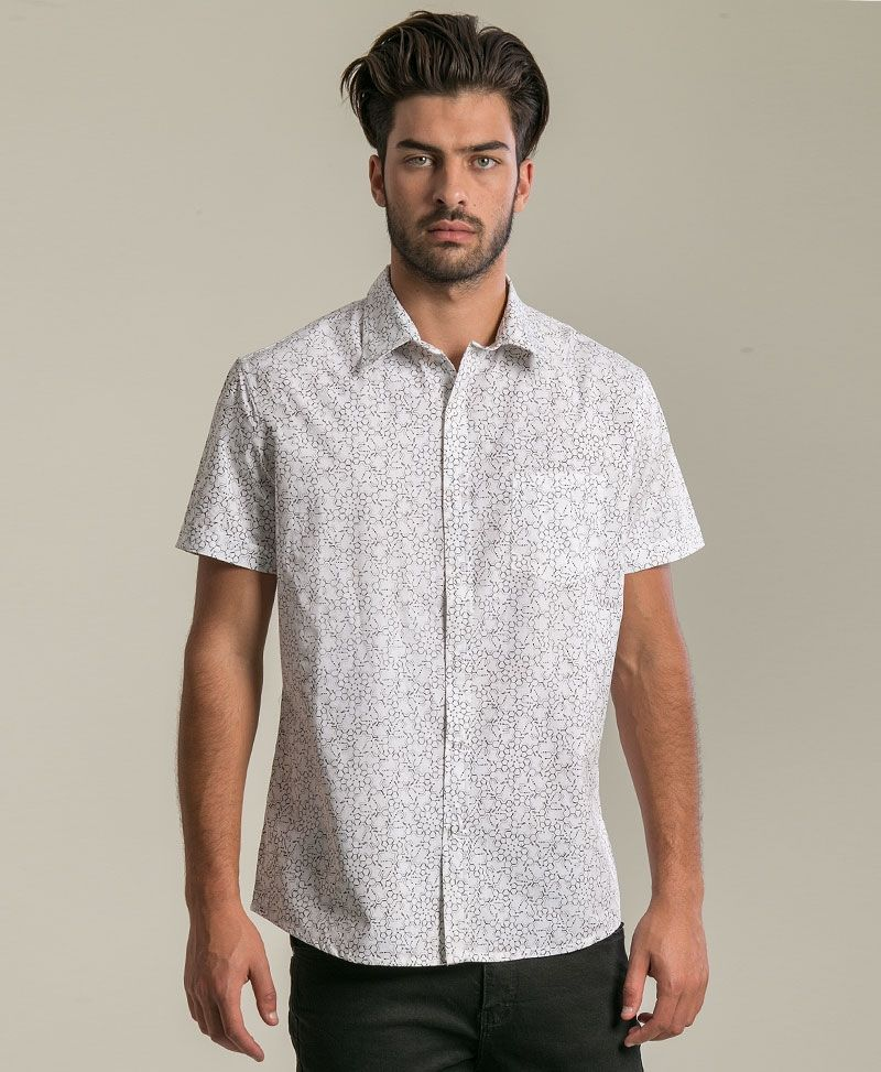 psychedelic clothing mens button down shirt lsd molecule white