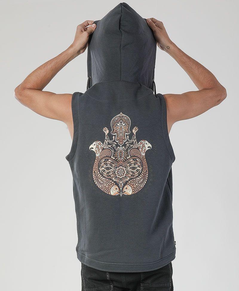 psy trance clothing men sacred geometry hamsa hood vest