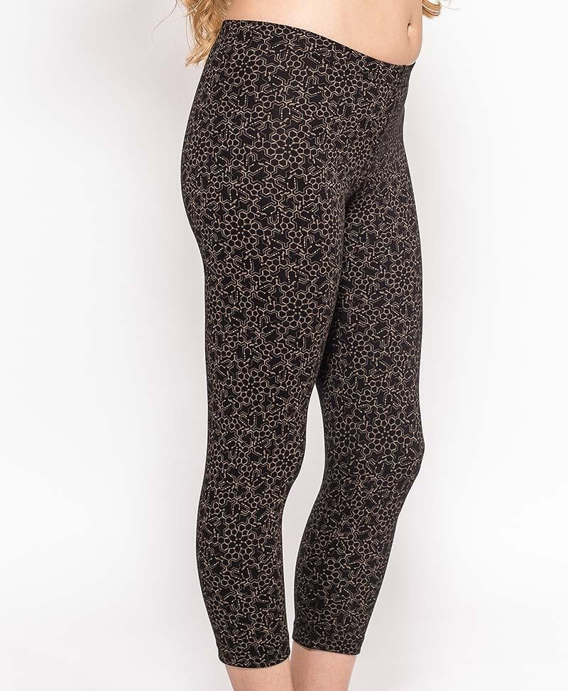 womens psychedelic leggings tights lsd molecule print in black