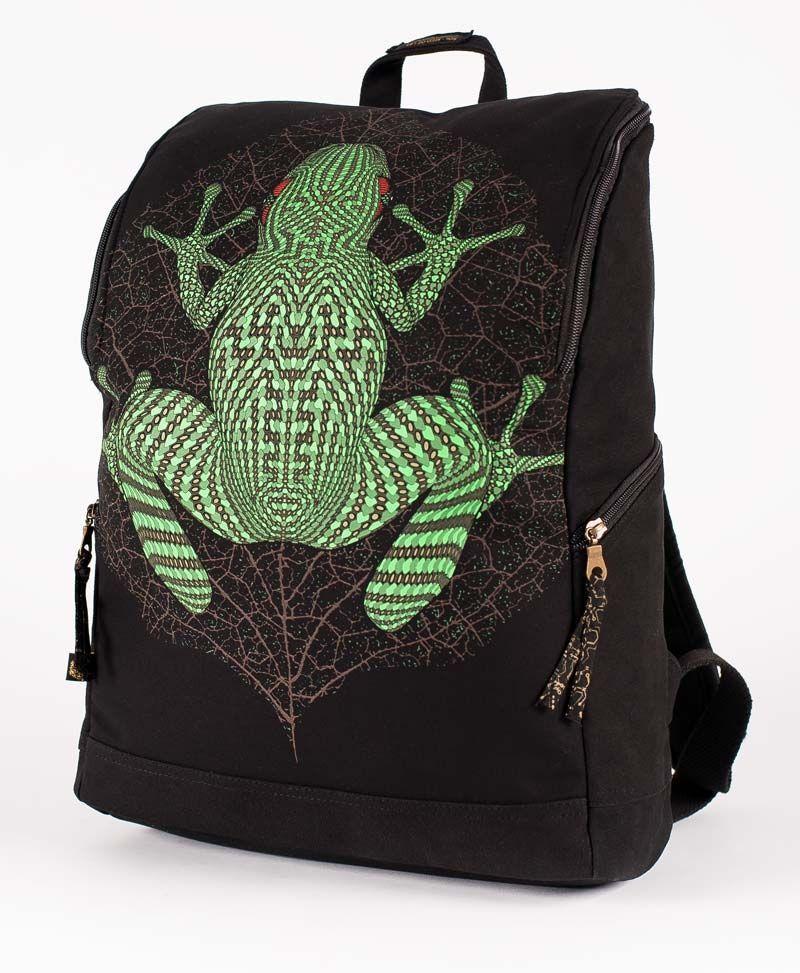 psychedelic backpack for laptop black bag kambo frog