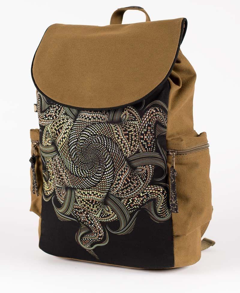 psychedelic festival backpack for laptop mandala vortex