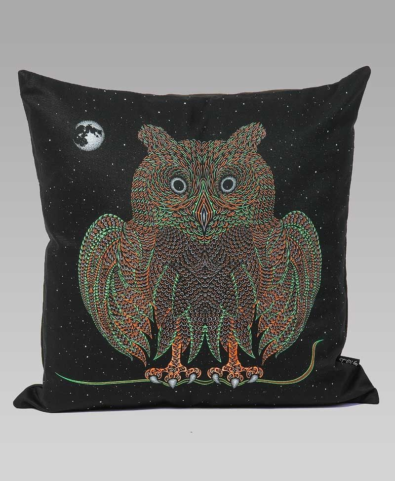 Psytrance Clothing Fashion Owl Cushion Cover