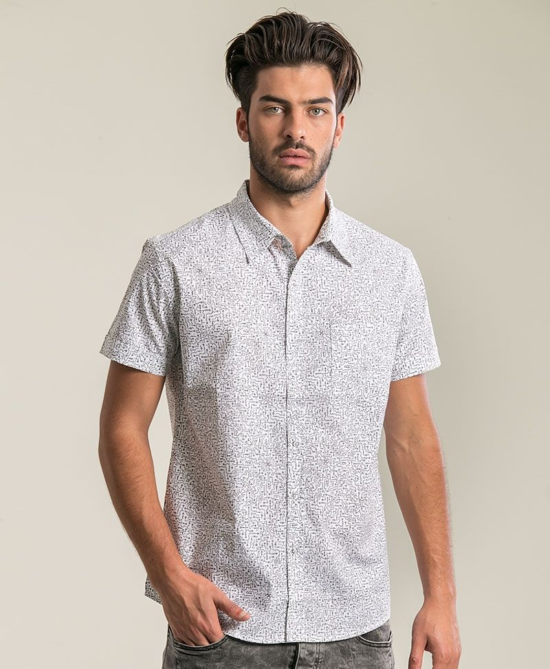 psychedelic clothing mens button down shirt white maze