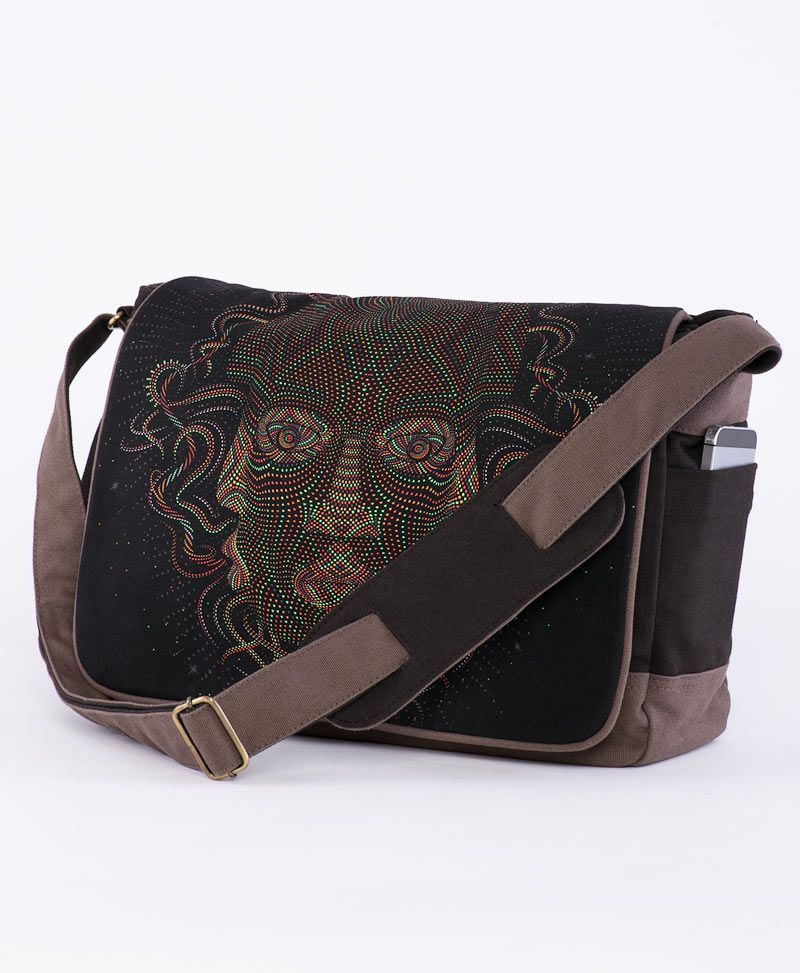 psychedelic t shirt laptop messenger bag
