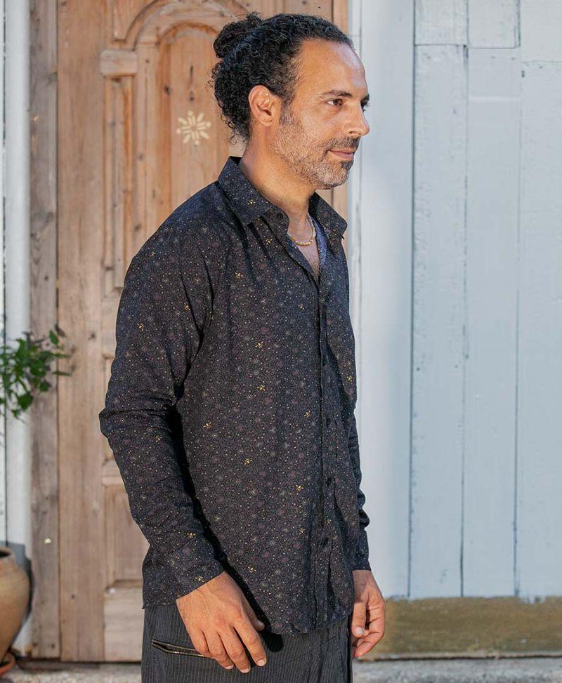 Long sleeve Men Button Down Shirt Bees Beehive Print