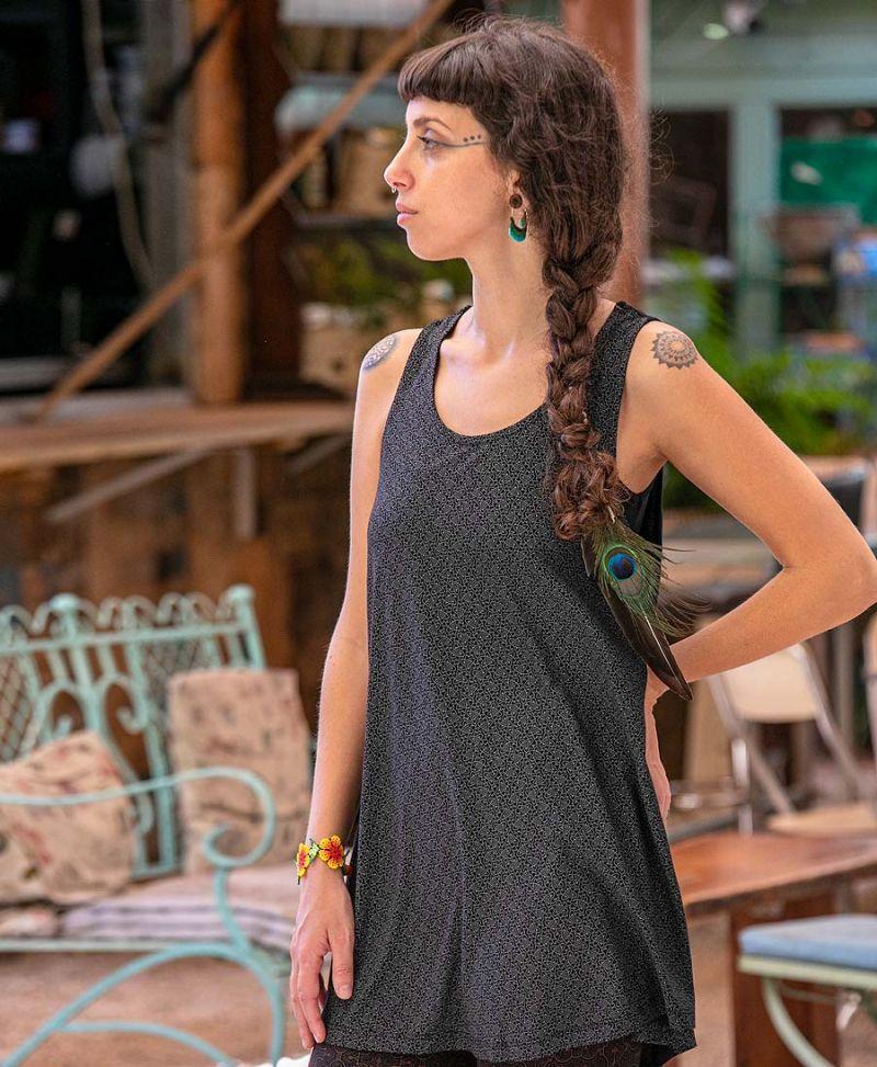 Geometric print loose tank top for women boho festival wear