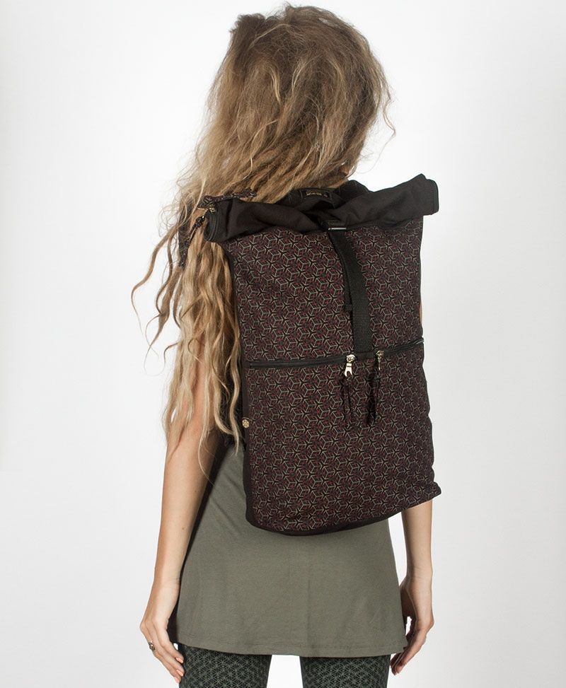 psy trance canvas roll top backpack for laptop geometric cubicle