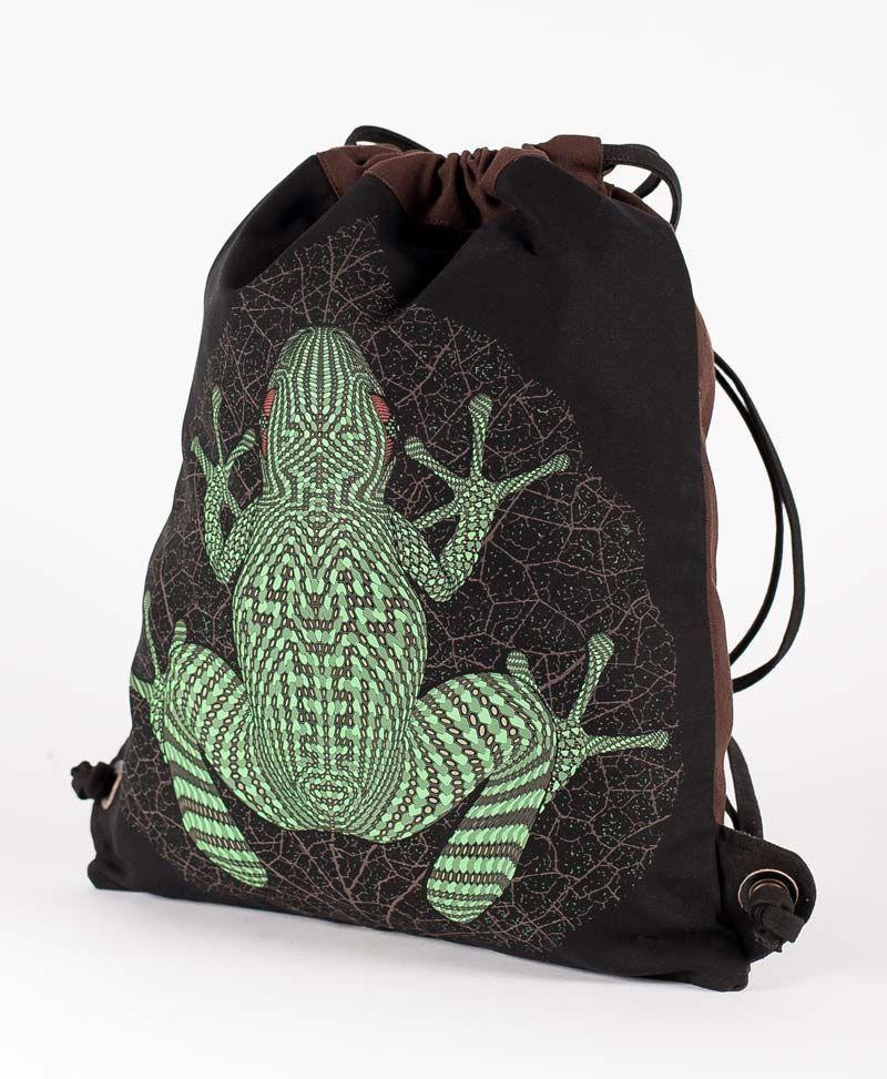 psychedelic festival drawstring backpack sack bag kambo frog