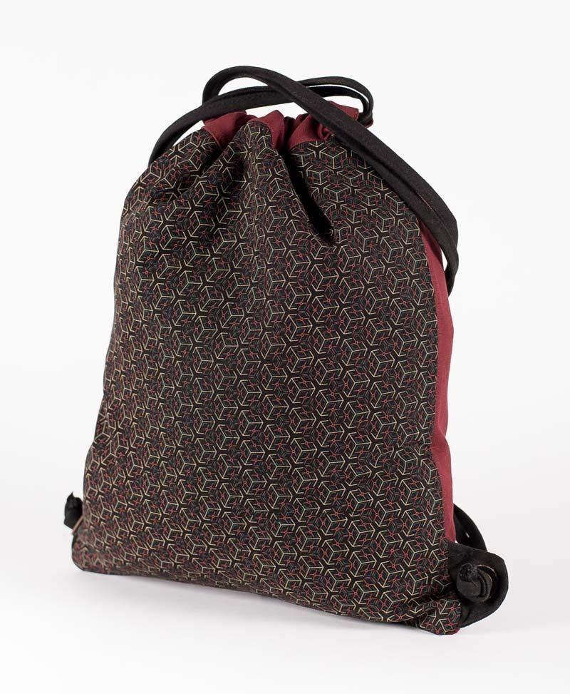 psychedelic festival bag drawstring backpack sack geometric cube