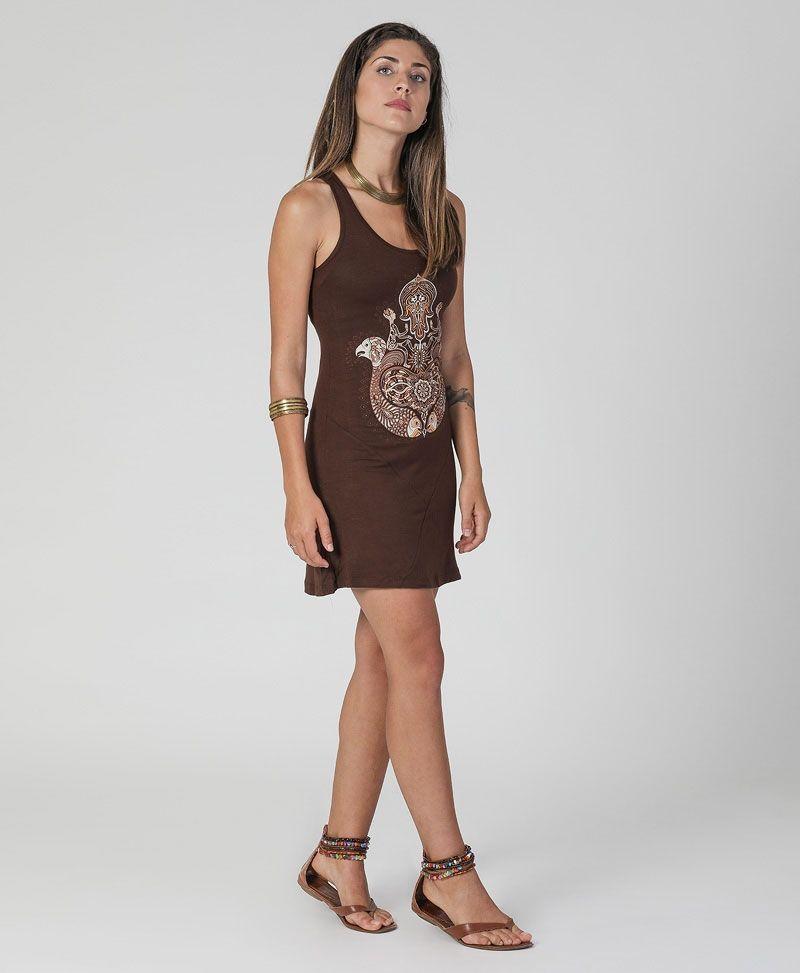 hamsa-tunic-dress-festival-yoga-wear-brown-sacred-geometry