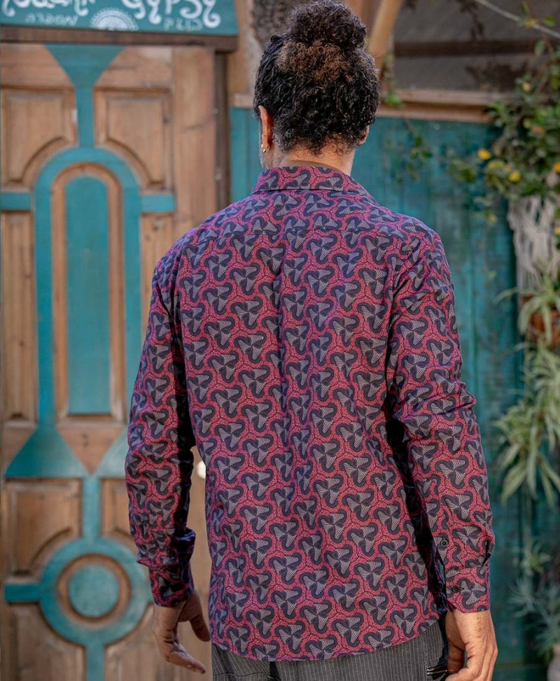 Long sleeve Men Button Down Shirt Magic Mushrooms Print