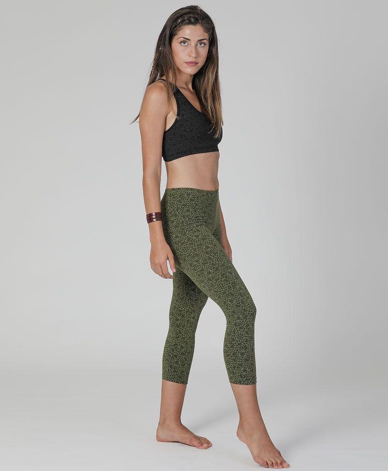LSD print cotton yoga leggings for women