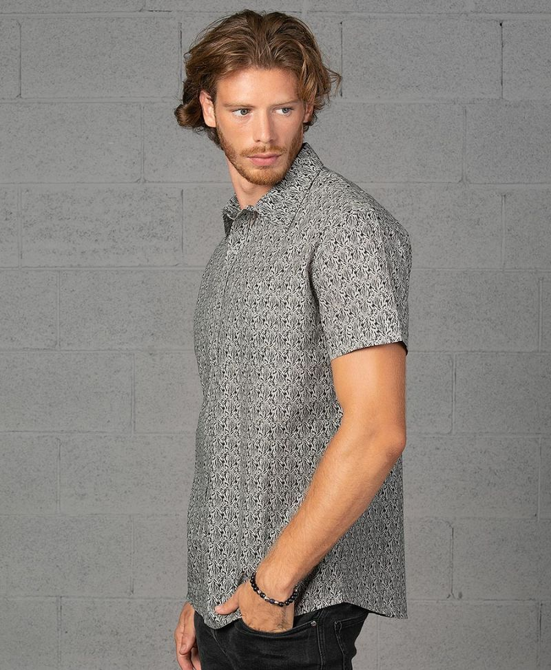 peach seed of life grey short button up shirt