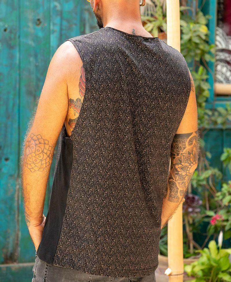 Texture Tank Top All Over Print Boho Men Streetwear