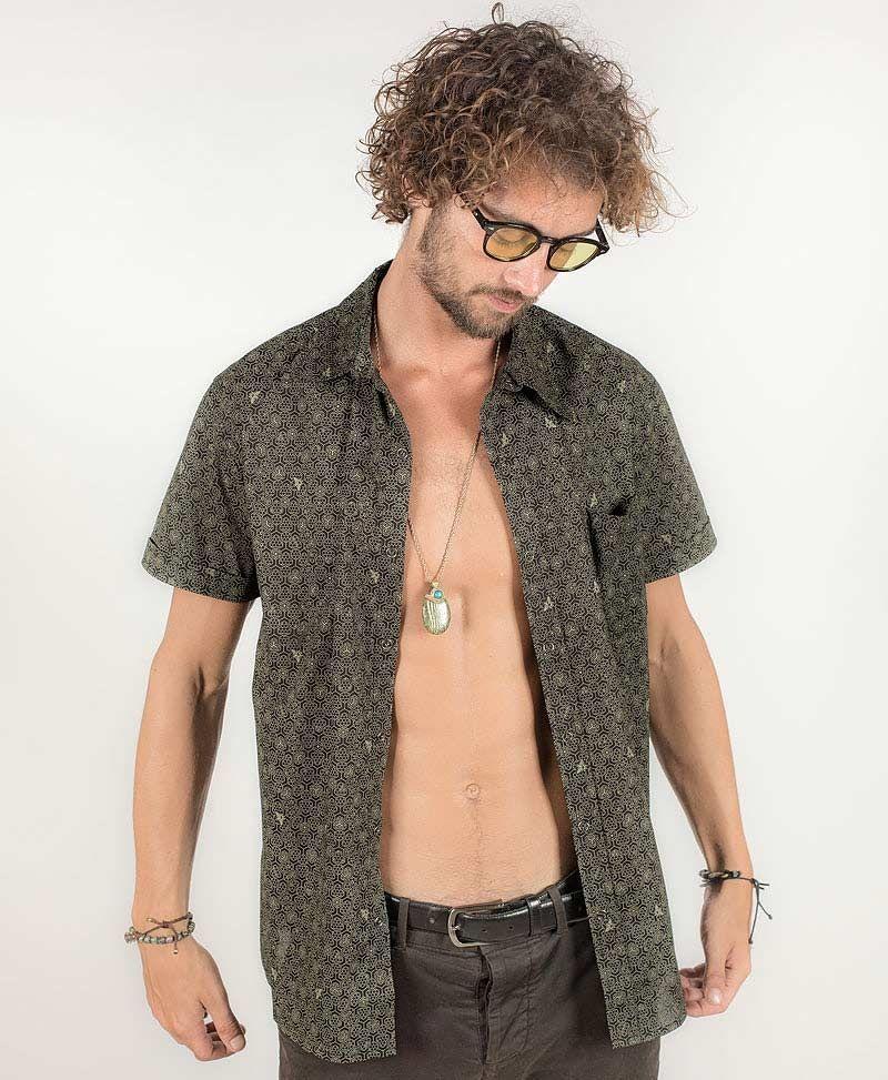 psy-clothing-men-button-down-black-short-sleeve-shirt-button-up-honeycomb-black