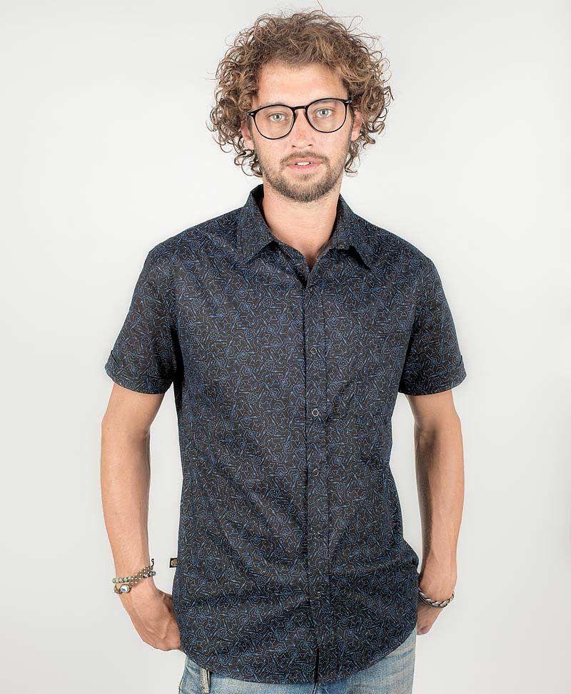 psy-clothing-men-button-down-black-short-sleeve-shirt-button