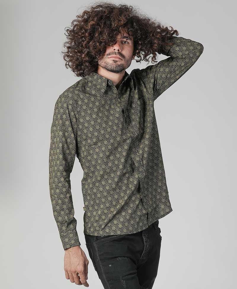 psytrance clothing men button down shirt black and gold